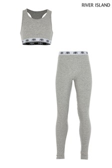River Island Grey Rib Crop Top And Leggings