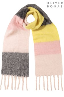 Oliver Bonas Chunky Striped Pink Heavyweight Scarf