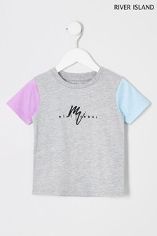 River Island Grey Contrast Sleeve T-Shirt
