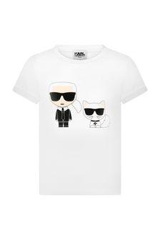 Karl Lagerfeld Girls White Cotton T-Shirt