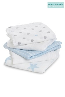 aden + anais Essentials Blue Muslin Squares 5 Pack