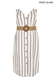 River Island Stripe Rodgers Linen Dress