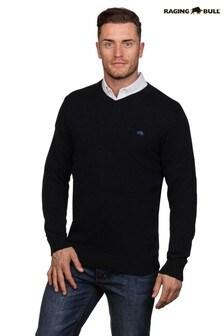 Raging Bull Black V-Neck Cotton Cashmere Knit Jumper