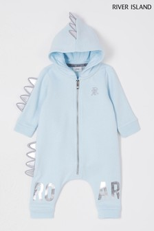 River Island Light Blue Dino All-In-One