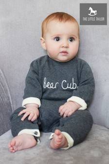 The Little Tailor Grey Charcoal Bear Cub Romper