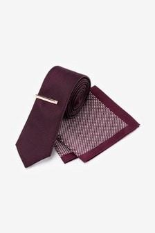 Krawatte und quadratisches Einstecktuch mit geometrischem Muster im Set