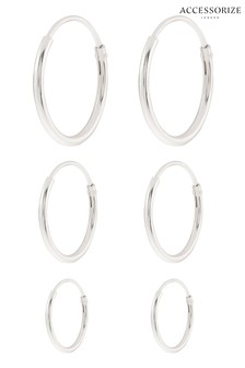 Accessorize Sterling Silver Simple Hoop Set