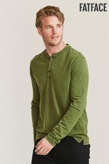 FatFace Green Woodside Slub Henley T-Shirt