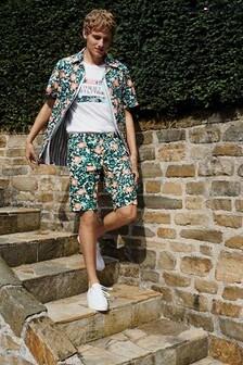Tommy Hilfiger Green Floral Camo Short Sleeve Shirt