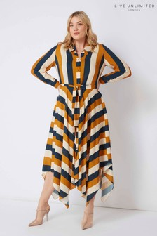 Live Unlimited Navy Hanky Hem Striped Shirt Dress