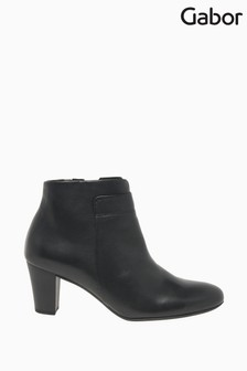 Gabor Matlock Black Leather Fashion Ankle Boots