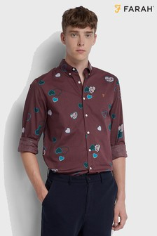 Farah Heart Print Long Sleeved Darrell Shirt