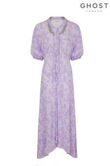 Ghost London Purple Alma Lilian Floral Print Crepe Dress