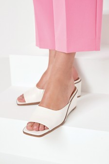 Square Toe Mule Wedges
