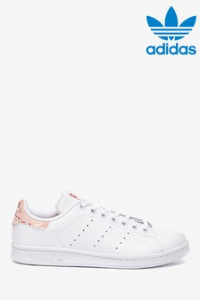 adidas Originals White Print Stan Smith Youth Trainers