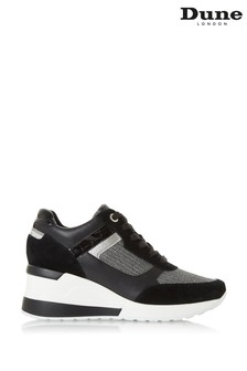 Dune London Black Elouera Wedge Heel Leather Trainers