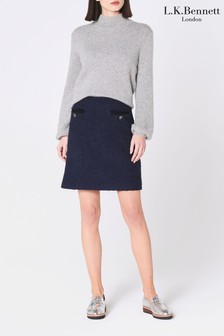 L.K.Bennett Blue Mercer Tweed Mini Skirt