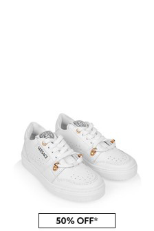 Boys White/Gold Leather Trainers