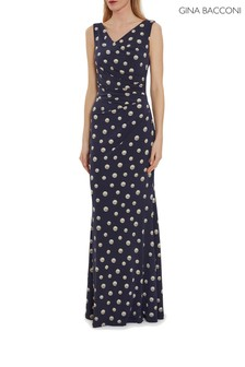 Gina Bacconi Blue Perdita Wrap Maxi Dress