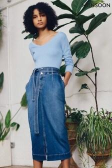 Monsoon Blue Straight Denim Midi Skirt