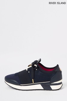River Island Navy Echo Trainers