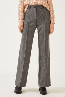 Jigsaw Grey Wide Herringbone Trousers