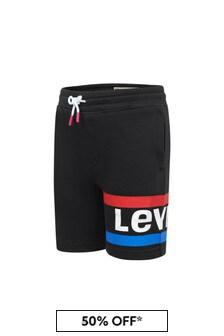 Levis Kidswear Boys Black Cotton Shorts