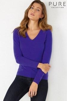 Pure Collection Purple Cashmere Slim Fit V-Neck Sweater