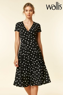 Wallis Black Spot Wrap Dress