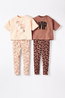 2 Pack Sequin Slogan Cropped Top Pyjamas (3-16yrs)