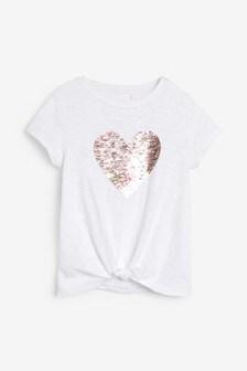 Flippy Sequin Heart T-Shirt (3-16yrs)