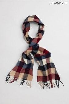 GANT Red Multi Check Wool Scarf