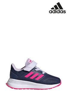 adidas Run Navy/Pink Falcon Infant Velcro Trainers