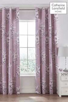Catherine Lansfield Canterbury Floral Eyelet Curtains