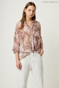 French Connection Pink Danae Crinkle Shirt