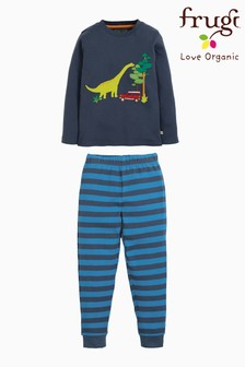 Frugi Organic Dinosaur Pyjamas With Blue Stripe Bottoms