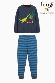 Frugi Organic Dinosaur Pyjamas With Blue Stripe Bottoms