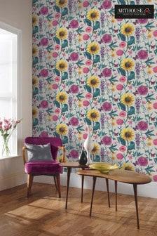 Arthouse Grey Summer Garden Floral Wallpaper
