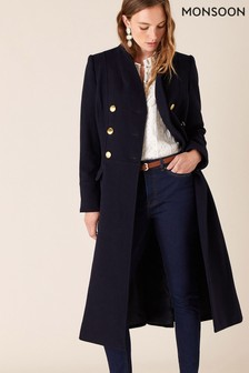 Monsoon Blue Rosaline Military Long Coat