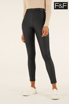 F&F Black Coated Jeggings