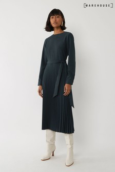 Warehouse Green Long Sleeve Pleated Midi Dress