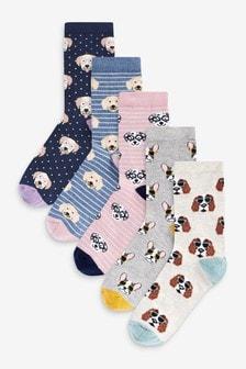 Dog Print Ankle Socks Five Pack