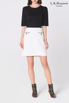 L.K.Bennett White Mercer Tweed Mini Skirt