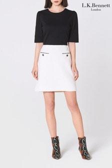 חצאית מיני מטוויד של L.K.Bennett דגם Mercer בלבן