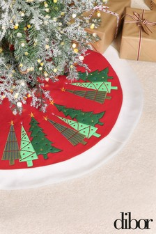 Embroidered Woodland Trees Christmas Tree Skirt by Dibor