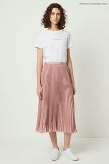French Connection Pink Crepe Light Pleated Midi Skirt