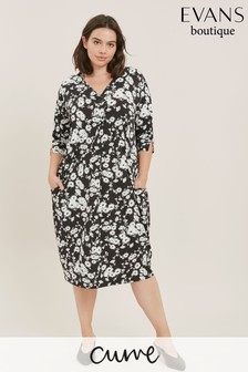 Evans Curve Black Floral Cocoon Dress