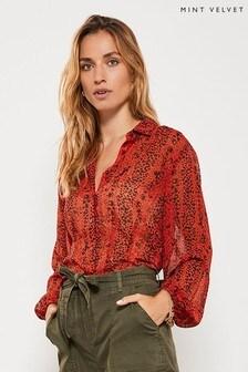 Mint Velvet Keira Animal Cropped Shirt