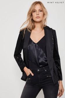 Mint Velvet Black Sequin Blazer
