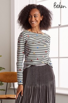 Boden Metallic Christmas Breton Top
